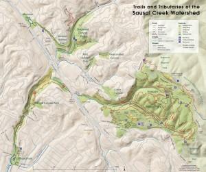 Sausal Creek watershed map 2015
